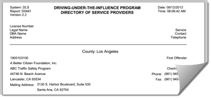 Directory of Service Providers DUI Classes